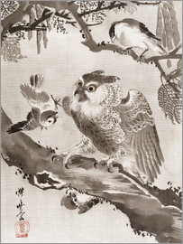 Kawanabe Kyosai - Owl Mocked by Small Birds