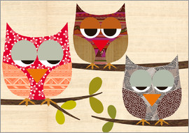 GreenNest - Owls on wood Collage
