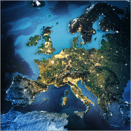 Europe from space, NASA 3D rendering