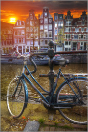 Bicycle in the glowing sunset
