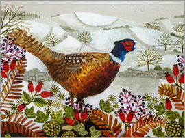 Vanessa Bowman - Pheasant and Snowy Hillside