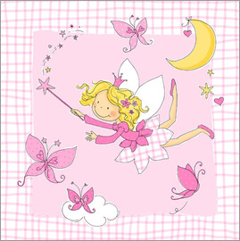 Fluffy Feelings - flying fairy with butterflies on checkered background