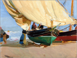 Joaquin Sorolla y Bastida - Fishing, anchored boats, Valencia.