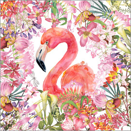 UtArt - Flamingo in Floral Jungle