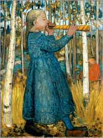 Paula Modersohn-Becker - Flute blowing girl in birch forest