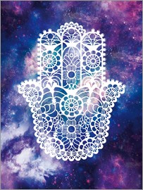 Nory Glory Prints - Floral Hamsa Hand Space floral art print