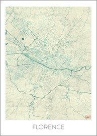 Hubert Roguski - Florence, Italy Map Blue