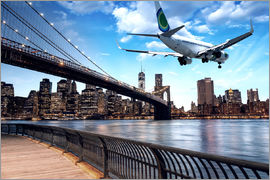 Un avion survolant New York