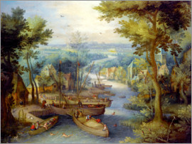 Jan Brueghel d.Ä. - River landscape with bathing and boats