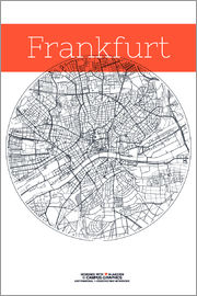 campus graphics - Frankfurt map city black and white