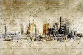 Michael artefacti - Frankfurt skyline abstract vintage
