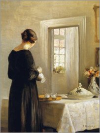 Carl Holsoe - Interior with a Woman at a Table