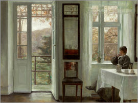 Carl Holsoe - Wife of the artist at a window