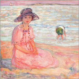 Henri Lebasque - Woman in the Pink Dress by the Sea