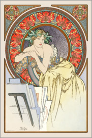 Alfons Mucha - Woman with drawings, brunette
