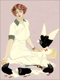 Clarence Coles Phillips - Woman with Pigeons