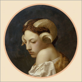 Jean Leon Gerome - Crowned woman's head with ram horns
