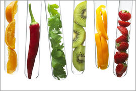 Fruit and vegetables in test tubes