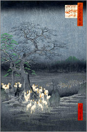 Utagawa Hiroshige - Foxes meeting at Oji