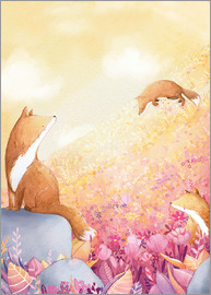 Rebecca Richards - Foxes and summer flowers