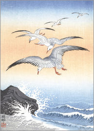 Ohara Koson - Five seagulls over stormy sea