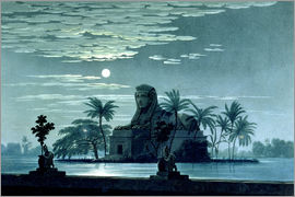 Karl Friedrich Schinkel - Garden scene with the Sphinx in moonlight, Act II scene 3, set design for 'The Magic Flute' by Wolfg