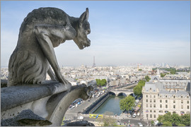 Jan Christopher Becke - Gargoyle statue and Eiffel tower, Paris, France