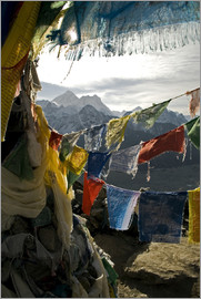 David Noyes - Prayer flags on the summit of Gokyo Ri