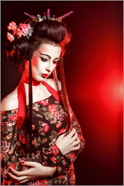 Geisha with flowers in her hair