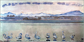 Ferdinand Hodler - Lake Geneva with nine swans