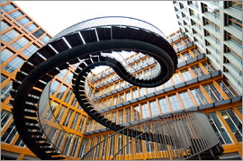Curved steel staircase
