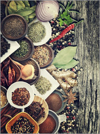 Spices And Herbs On Rusty Old Wood