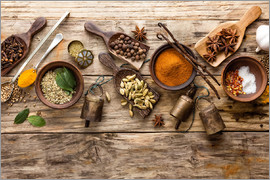 Spices and kitchen utensils