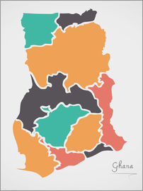 Ingo Menhard - Ghana map modern abstract with round shapes