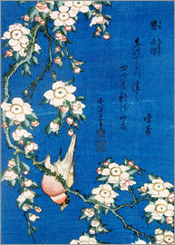 Katsushika Hokusai - Bullfinch and weeping cherry