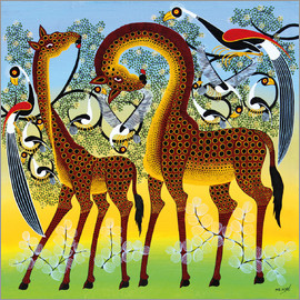 Noel - Giraffes at the bird tree