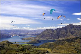 David Wall - Paragliders above Wanaka lake