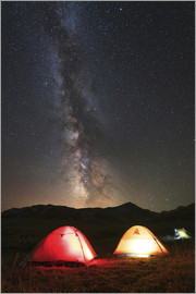 Yuri Zvezdny - Glowing tents under the Milky Way in the mountains of Russia.
