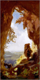 Carl Spitzweg - Gnome, looking at the first railway out of a cave