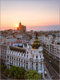 Matteo Colombo - Gran Via and city of Madrid at sunset, Spain