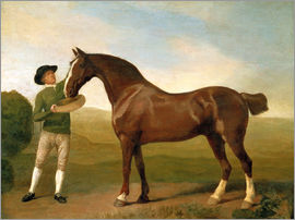 George Stubbs - Groom feeding a bay hunter in a landscape