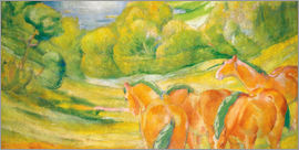Franz Marc - Big landscape I (Landscape with red horses)