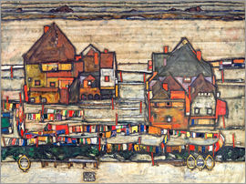 Egon Schiele - Houses with colorful laundry