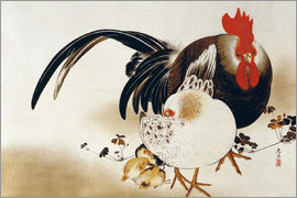 Shibata Zeshin - Cockerel, hen and chicks