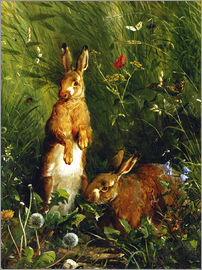 Olaf August Hermansen - Rabbits in a meadow