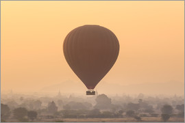 Hot air balloon over temples of Bagan, Myanmar