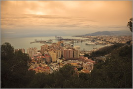 Ian Egner - High angle view of Malaga cityscape with bullring and docks, Andalusia, Spain, Europe.