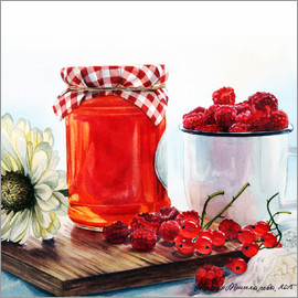 Maria Mishkareva - Raspberry jam watercolor painting