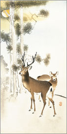 Ohara Koson - Deer and roe deer in winter