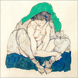Egon Schiele - crouching woman with green kerchief